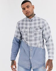 Liquor N Poker Denim Shirt With Check Splice In Blue Wash