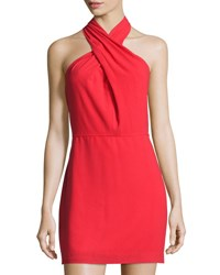 Halston Halter Neck Crepe Dress Red