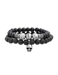 Steve Madden Two Tone Skull Bracelet Black Burn