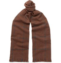 Emma Willis Fringed Checked Wool Scarf Brown
