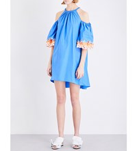 Peter Pilotto Cold Shoulder Cotton Dress Blue