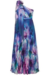 Marchesa Notte One Shoulder Pleated Printed Chiffon Gown Blue