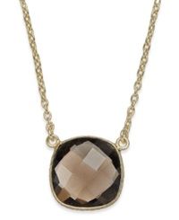 Studio Silver Smoky Quartz Pendant Necklace In 18K Gold Over Sterling Silver 4 Ct. T.W.