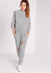 Missguided Ripped Front Joggers Grey Marl Grey