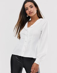 Fashion Union Button Down Blouse With Puff Sleeves And Scallop Collar Cream