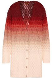Missoni Belted Crochet Knit Cardigan Pink