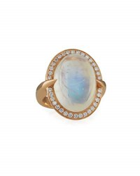 Frederic Sage Sparta Oval Rainbow Moonstone Ring With Diamonds In 18K Rose Gold