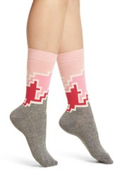 Happy Socks Geo Block Crew Pink