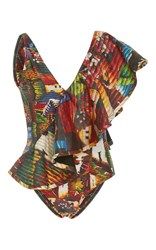 Agua De Coco Cuzco Ruffled Shoulder One Piece Print