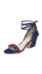 Botkier Penelope City Sandals Navy Red Combo