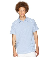 Toes On The Nose Jesse Short Sleeve Raglan Polo Chambray Short Sleeve Knit White