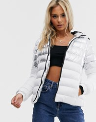 Brave Soul Verbier Panelled Puffer Jacket In Metallic Silver White