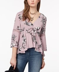 American Rag Juniors' Printed Lace Trimmed Babydoll Top Created For Macy's Pale Elderberry Combo
