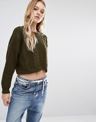 Daisy Street Fisherman Knit Jumper Khaki Green
