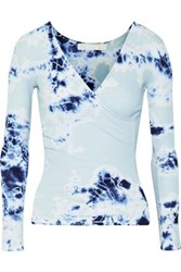 Kain Label Rose Wrap Effect Tie Dyed Ribbed Cotton And Modal Blend Top Sky Blue