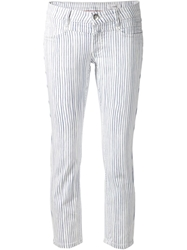 Closed Striped Cropped Jeans White