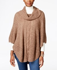 Karen Scott Cable Knit Cowl Neck Poncho Only At Macy's Grain Marl