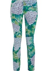 Dolce And Gabbana Floral Print Low Rise Skinny Jeans Jade