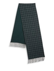 Saks Fifth Avenue Collection By Johnstons Grid Scarf Green