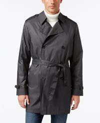 Kenneth Cole New York Men's Ridge Microdot Water Repellent Double Breasted Trench Coat Charcoal
