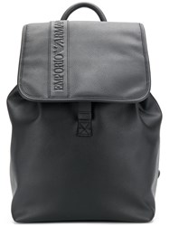 Emporio Armani Logo Embossed Backpack Black