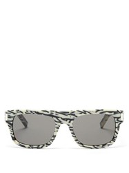 Saint Laurent Zebra Print D Frame Sunglasses White Multi