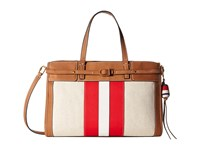 Tory Burch Canvas Suede Satchel Natural New Ivory Nut Satchel Handbags White