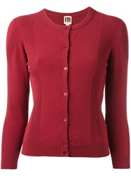 I'm Isola Marras Ribbed Detail Buttoned Cardigan Red