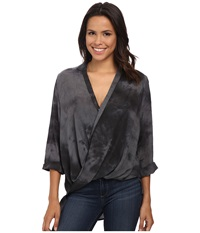 Bobeau Cross Front Tab Sleeve Blouse Charcoal Women's Blouse Gray