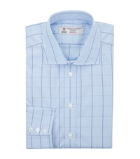Turnbull And Asser Checked Cotton Shirt Blue