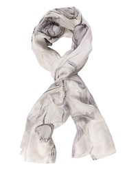 Chesca Abstract Tulip Print Scarf Grey