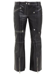 Alexander Mcqueen Panelled Kick Flare Leather Trousers Black White