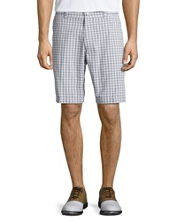 Callaway Plaid Flat Front Tech Shorts Bright White Gray