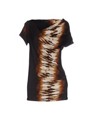 Plein Sud Jeanius Topwear T Shirts Women Dark Brown