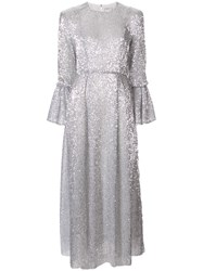 Huishan Zhang Sequin Embellished Dress Silver