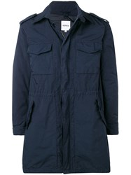 Aspesi Flap Pocket Zipped Coat Blue