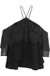 Cinq A Sept Off The Shoulder Lace Paneled Chiffon Top Black