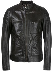 Belstaff Zipped Leather Jacket Black