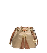 Michael Kors Marina Medium Canvas Messenger Gold