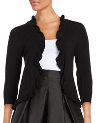 Ivanka Trump Ruffled Open Front Cardigan Black