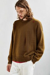 Urban Outfitters Uo Distressed Modern Crew Neck Sweater Cedar
