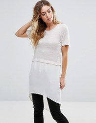 Vero Moda Tunic Top With Dip Hem Cream