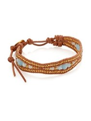 Chan Luu Amazonite And Leather Bracelet Blue Brown