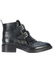 Sartore Fringed Buckle Boots Women Leather 40 Black
