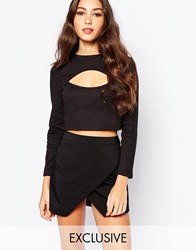 Daisy Street Cut Out Rib Top With Long Sleeve Black