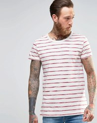 Lee Stripe Print T Shirt Red