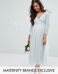 Maya Maternity 3 4 Sleeve Midi Dress With Delicate Sequin And Tulle Skirt Blue