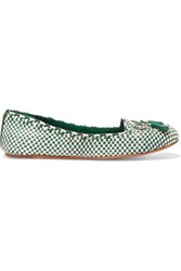 Tory Burch Russell Bow Embellished Woven Leather Loafers Green