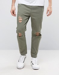 Asos Slim Cropped Chino Joggers With Knee Rips In Khaki Burnt Olive Green