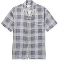Marc Jacobs Camp Collar Checked Ramie Crepe Shirt Blue